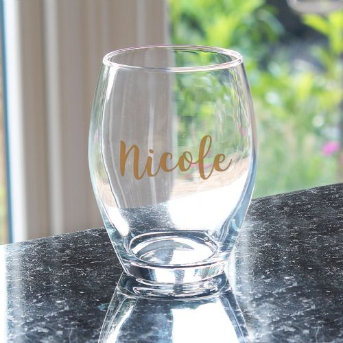 Personalised Gold Name Stemless Wine Glass